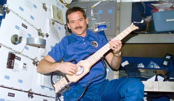 Chris Hadfield plays guitar aboard Mir in 1995 (Credits: Canadian Press/HO/CSA).