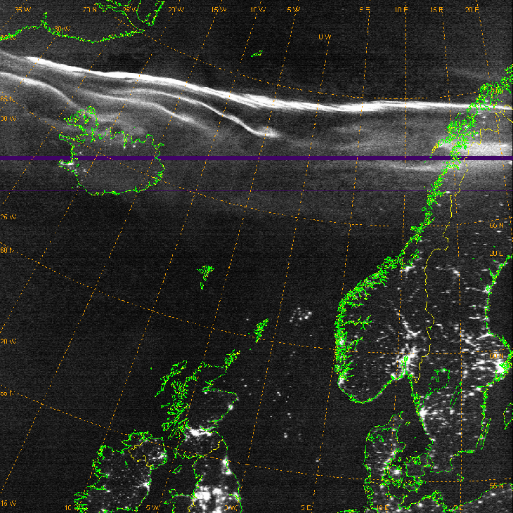 Polar aurorae, electric lights, and oil rig gas flares as seen from the low-light camera on DMSP-18. Image prepared by Mark Conner (Credits: US Air Force Weather Agency).