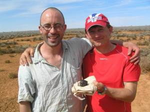 Astronomer Pavel Spurny (on the right) and his colleague Phil Blund after recovering the Australian meteorite Bunburra Rockhole (Credits: Astro.cz)