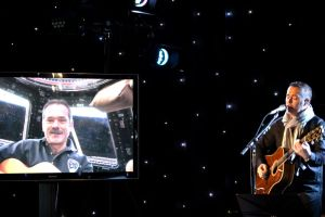 ISS Commander Chris Hadfield and Barenaked Ladies' band member Ed Robertson share a star-lit recording studio (Credits: CBC Music).