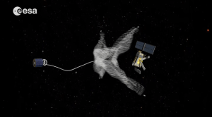 Space debris collection concept (Credits: ESA).