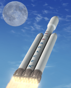 Illustration of SpaceX's Falcon Heavy launch vehicle (Credits: SpaceX),.