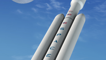 Artist conception of Falcon Heavy launch.