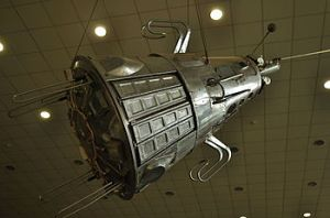 A model of Sputnik 3 hangs in the Konstantin E. Tsiolkovsky State Museum of the History of Cosmonautics (Credits: Енин Арсений).