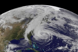 Hurricane Sandy as seen from GOES-13 satellite on October, 2012 (Credits: NOAA/NASA).