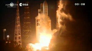 ATV Albert Einstein lifting off with Ariane 5 (Credits: ESA).