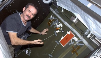 Astronaut Chris Hadfield installs one of the UBNT units during his flight (Credits: NASA)