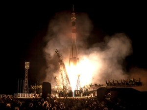 A Soyuz launch earlier this year. Another Soyuz launch nearly 30 years ago ended disastrously, out of public view but whose aftermath was noticed by the US intelligence community (Credits: NASA).