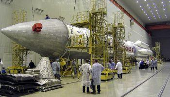 Assembly of a Proton rocket. – Credits: Pavel Kolotilov, Wikimedia