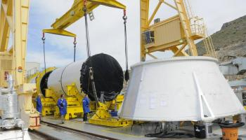 ATK's test-firing of the Qualification Motor 1 has been delayed due to defects found in the aft segment of the motor (Credits: NASA / ATK).