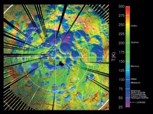 A surface temperature map of the lunar south pole, showing several intensely cold impact craters that could trap water ice and other icy compounds commonly observed in comets (Credits: NASA).