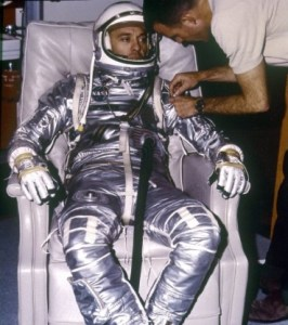 Alan Shepard, the first American in space, is in his Mercury spacesuit (Credits: NASA).