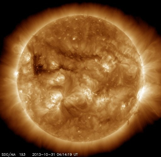 The Sun on October 31, as seen from the Solar Dynamics Observatory (Credits: NASA).
