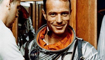NASA Astronaut Scott Carpenter during a suiting exercise in 1962 (Credits: NASA).