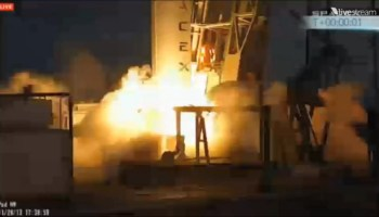 The first of two launch aborts for the Falcon 9 on November 28 (Credits: SpaceX).