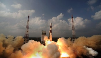 "Launch of Mars Orbiter Mission ""Mangalyaan"" toward the Mars on a Polar Satellite Launch Vehicle (PSLV) on Nov. 5, 2013. Credits: Indian Space Research Organisation (ISRO)"