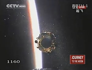 Successful seperation of Chang'e 3 and China's Yutu lunar rover from the Long March-3B rocket's third stage as the sun rises over the Pacific Ocean minutes after launch (Credits: CCTV).