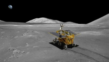 "The Chinese National Space Administration successfully soft-landed the Chang'e 3 lander with the Yutu rover on the Moon December 14, 2013 at 8:11 a.m. EST (1311 GMT), within Sinus Iridum, or the ""Bay of Rainbows."" (Credits: ESA / CSNA)."