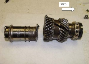 Fractured helical input gearshaft from Japan Air Commuter JA847C (Credits: Japan Transportation Safety Board).