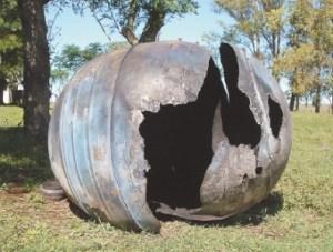 The PAM-D (Delta class Star-48B rocket motor) debris retrieved in Uruguay (Credits: Dan Reichel).