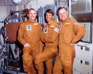 Astronauts Vance Brand, Bill Lenoir, and Don Lind served as backups for both the second and third Skylab crews and might have flown the 21-day fourth mission, had it been approved (Credits: NASA).