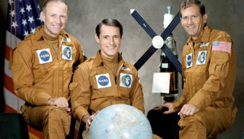 The crew of America's final Skylab mission: Gerry Carr, Ed Gibson, and Bill Pogue. They were the first humans to spend New Year in space in 1973-74 (Credits: NASA).