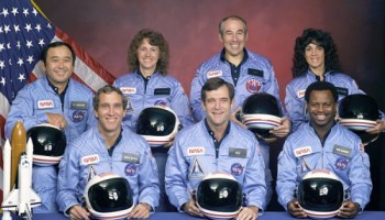 The Challenger STS 51-L crew, as it should be remembered: positive and brilliant individuals, happily striving to explore space and further humanity's reach into the Universe. In the back row (lef to right) Ellison S. Onizuka, Sharon Christa McAuliffe, Greg Jarvis, and Judy Resnik. In the front row (lefto to right) Mike Smith, Dick Scobee, and Ron McNair (Credits: NASA).