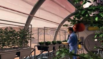 Artist's conception of a future Martian greenhouse. – Credits: NASA