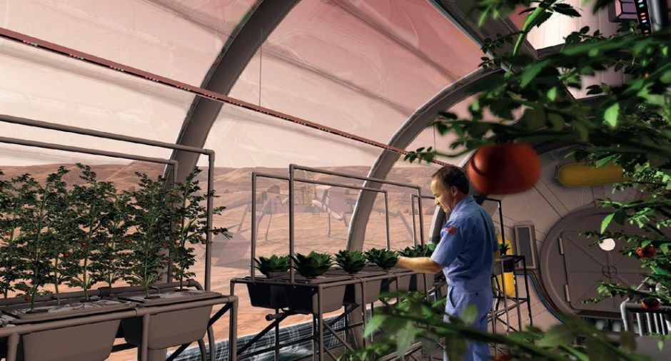 Artist's conception of a future Martian greenhouse. – Credits: NASA