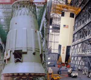 An example of two massive first stages: the Russian N1 Block-A (left) and the American Saturn V S1-C (right). Note the truss architecture at the top of the stage for the Russian launcher and the skirt architecture on the American launcher. (Credits: NPO Energomash, NASA).