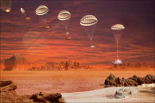 Artist's concept of Huygens probe descending on Titan (Credits: ESA/C.Carreau).