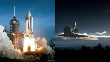 The lift off of Columbia (STS-1, 1981, on the left) and the landing of Atlantis (STS-135, 2011, on the right) mark the beginning and the end of a 31 year era of triumphs and tragedies (Credits: NASA).
