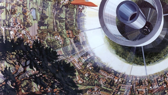 Artist's rendition of the inside of a Bernal sphere, showing human-powered flight near the low-g center of the habitat (Credits: Rick Guidice/NASA).