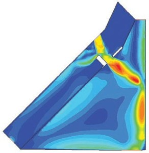 Computational fluid dynamics analysis of the speed of the superheated air as it entered the breach in RCC panel 8 and travels through the wing leading edge spar. The darkest red color indicates speeds of over 6,400 km/h; temperatures likely exceeded 2,760 degrees Celsius (Credits: NASA Ref [1] p69).