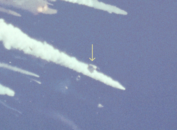 Analysis of a picture taken right after the vehicle breakup reveal that the crew cabin survived the conflagration. At least three crew members were alive and conscious at that point. - Credits: NASA