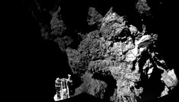 Panoramic picture taken by Philae with the CIVA instrument after landing