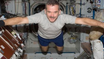 Canadian Space Agency astronaut Chris Hadfield, Expedition 34 flight engineer, floats freely in the Unity node of the International Space Station. credits: NASA