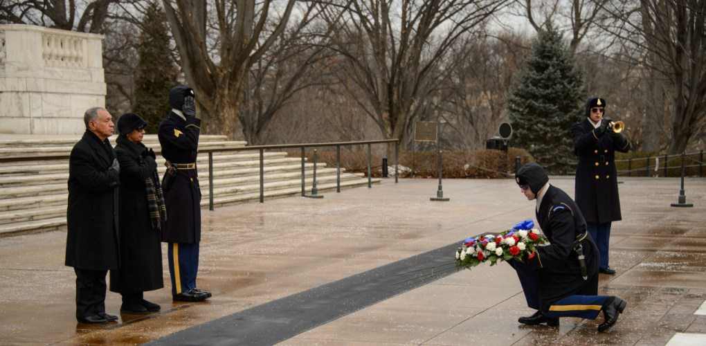 NASA Administrator Charles Bolden and his wife Alexis lay a wreath at the Tomb of the Unknowns as part of NASA's Day of Remembrance, Friday, Jan. 31, 2014, at Arlington National Cemetery. The wreaths were laid in memory of those men and women who lost their lives in the quest for space exploration. Photo Credit: (NASA/Bill Ingalls)
