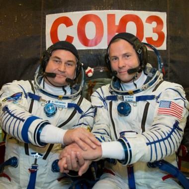 Expedition 57 crew members Alexey Ovchinin of the Russian space agency Roscosmos and Nick Hague of NASA