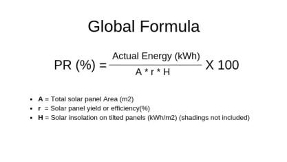 solar panel formula