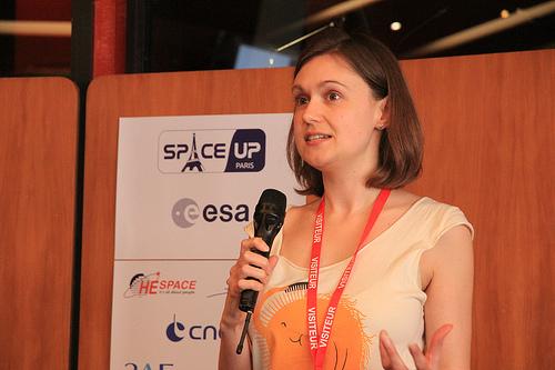 @SpaceKate during her SpaceUp talk at SpaceUp Paris 2013