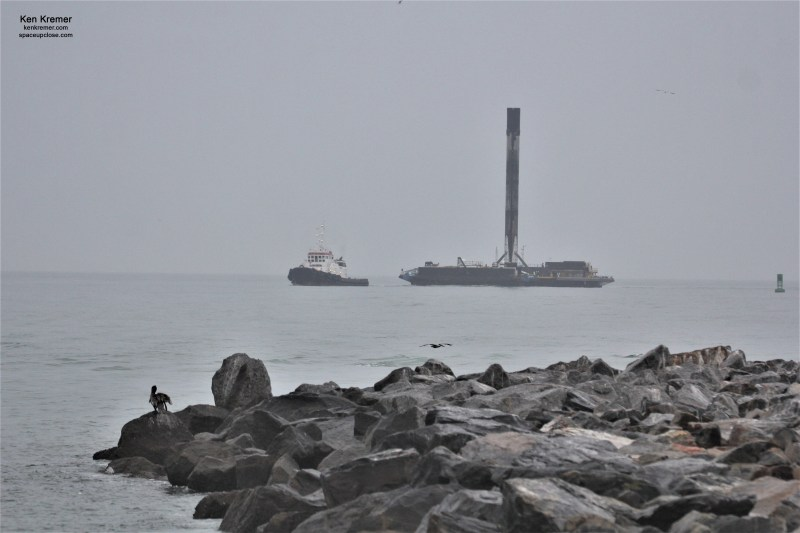 Under Gloomy Skies Recovered SpaceX Starlink Booster Sails Triumphantly into Port Canaveral: Photos
