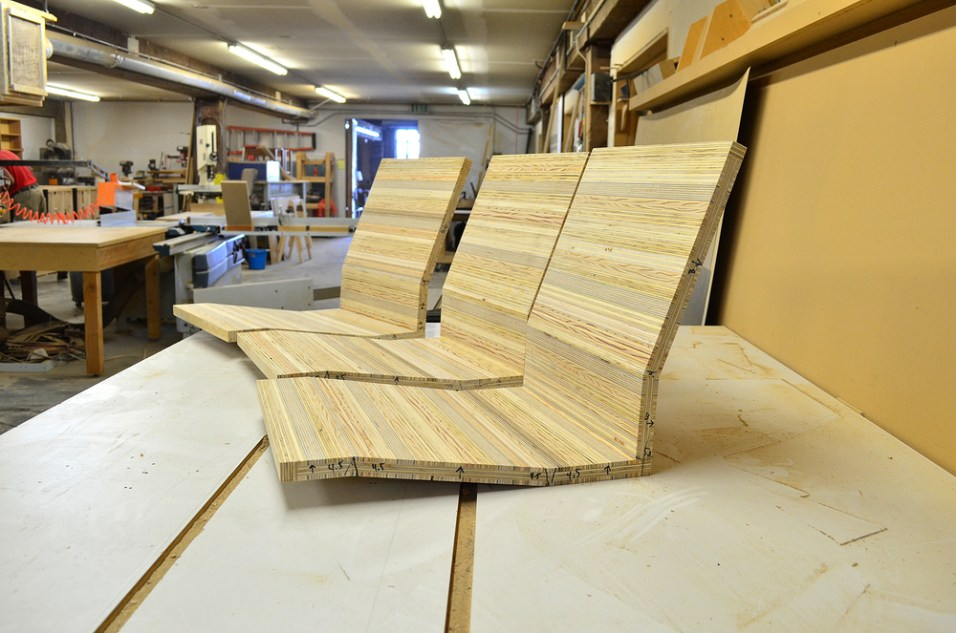 Lawler's furniture in process, inside his woodshop.
