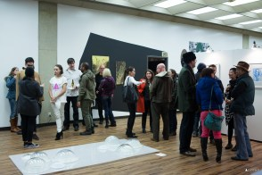 Tacoma artists and art patrons mingle at 1120 Creative house. Third Thursday Artwalk, November 2015.