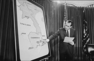 President Nixon gives a speech about expanding the war into Cambodia, April 30, 1970. United States Federal Government photograph. Public domain.