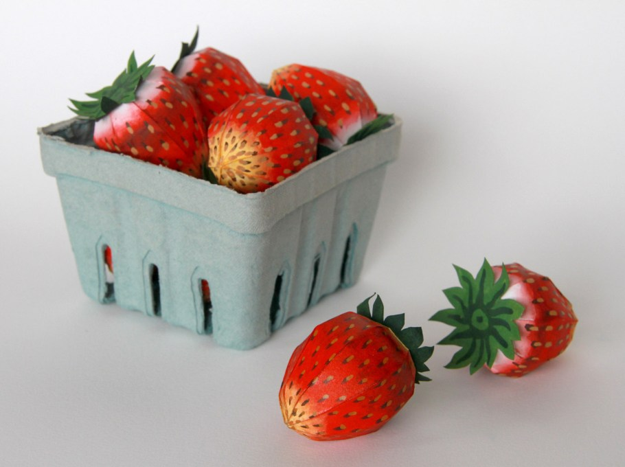 "Chandler O'Leary, ""Berry Basket"", Ten life-sized paper strawberries in a found berry basket; from the ""Farm to Table"" series (2016)"