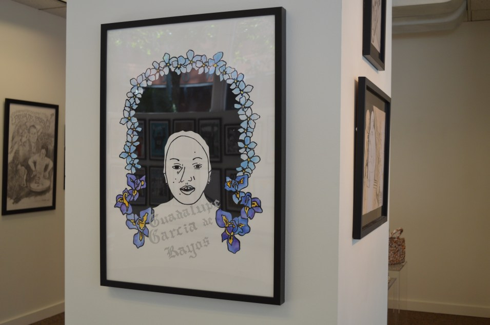 "Work by Andrea Eaton: Guadalupe Garcia de Rayos, 2017, Screen Print/Mixed Media, $120. Guadalupe Garcia de Rayos was 14 when she left Acambaro and crossed the border to Nogales, Arizona in hopes of a better life. 21 years later, after 8 years of obediently meeting with ICE agents, and after a harsh 100 days under Trump, things changed. 8 years ago, Garcia de Rayos was the subject of a workplace raid, and subsequently was arrested for using a fake social security number thus being convicted of felony charges a year later. ""After her conviction she appealed a court order to voluntarily deport and lost. She became the subject of a removal order in 2013 and was placed court-ordered supervision, which required her to report on a provided schedule to an ICE office until her order of removal was ""affected,"" or acted on."" With a felony charge under her belt, a long history in Phoenix of racial and ethnic profiling, and a tumultuous new immigration policy, Guadalupe went to her final ICE meeting only to find out she would not be returning to her family. Garcia de Rayos story is a classic immigrant tale, one that is overwhelmingly filled with love and hope, yet is turned into one a tale of stealing and pillaging by those privileged enough to never understand. And while Garcia de Rayos was offered sanctuary at a local church, she refused, she wanted others to understand the magnitude of such policies. She explained in an interview: ""I don't regret it, because I know I did this so that more families could see what's in store, what could happen, and so that they could know what they could risk,Trump is not harming the adults and the parents who get deported, but it's different for the children left behind in the United States. I am not what he says. I simply am a mother who fights for her children, who fights to give them the best."" I believe that Garcia de Rayos' story is one of immense importance, especially in an age rampant with Islamophobia, racial biases, and outright bullying. With this in mind, I want to highlight her passion without overshadowing it. I in no way can claim this story as my own. I am a white upper middle class American who will never truly understand what this woman has gone through/continues to go through. But, I can use my privilege to speak her name and make sure she is remembered as the powerful and loving Latina that she is. Say her name, and remember it along with the many other immigrants who have battled so hard for a better life."