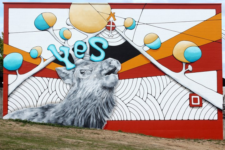 "Mindy Barker, ""Yes"", 29'x46' acrylic mural (2014)"