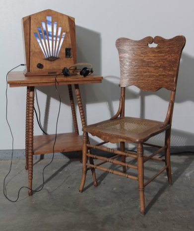 Cathedral Andy Behrle found objects, LCD screen, wood, optics, electronics, digital media 2015