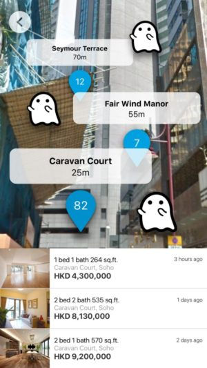 When a user is near a haunted location, ghosts actually appear in the AR interface, alongside apartment listing information.